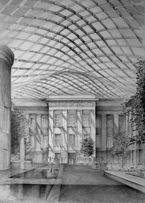 Architect-Norman-Foster-British-Museum-London-drawing-by-Klara-Ostaniewicz